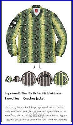 Authentique Supreme X North Face Peau de Serpent Entraîneurs Veste Vert Taille M