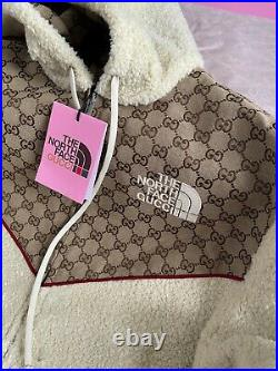 Gucci x The North Face GG Canvas Shearling Jacket Beige Size M