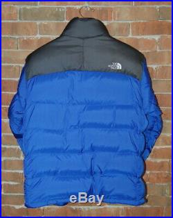 M The North Face Royal Bleu/Gris Couleur Blocage 700 Nuptse Bas Doudoune