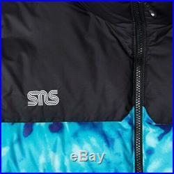 Sns X The North Face Nuptse Veste Plongée Bleu Tie And Dye Hommes Taille M Neuf