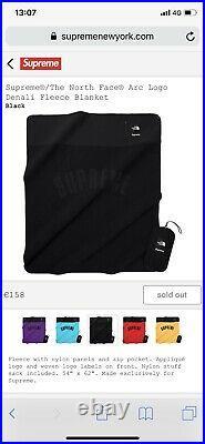 Supreme The North Face Arc logo Denali Fleece Blanket Black Sold Out