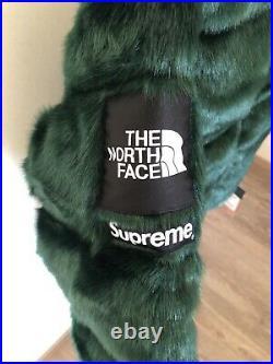 Supreme The North Face Faux Fur Nuptse Jacket Green