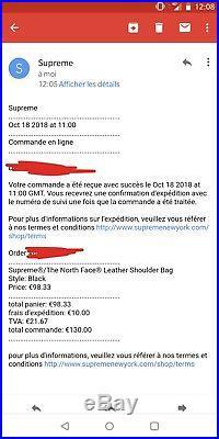 Supreme The north face black leather shoulder bag NEW tnf confirmed