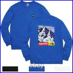 Supreme X The North Face Mountain Crewneck Sweat Tnf Blue Large Fw17 Taille L