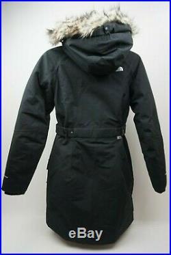 The North Face Extérieur Arrondissements 550 Bas Parka Femmes Noir Faux Fur Size